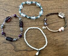 Pretty Lot 4 Beaded Stretch Bracelets - Faux Pearl, Glass, Faceted