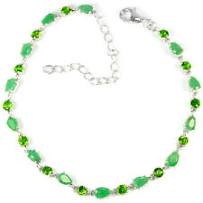 REAL GREEN EMERALD COLUMBIAN & CHROME DIOPSIDE STERLING 925 SILVER BRACELET 9.25