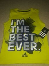 NWT Adidas Boys Tank Top Shirt Size 5 I'm The Best Ever Sports Soccer BBall Cool