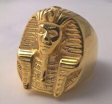 G-Filled 18k gold HUGE Mens ring Egyptian pharaoh Tutankhamun Egypt King 31.6 gm