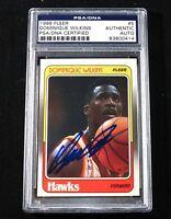 DOMINIQUE WILKINS Signed 88 1988 Fleer Card #5 - PSA DNA slabbed Atlanta Hawks