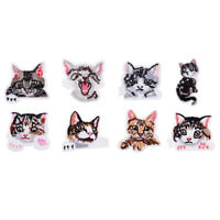 8pcs Iron On Patches Animal Cat Sew On Patch Embroidered Appliques DIY Craft