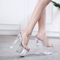 Women's High Platform Crystal Slingback PVC Sandals Nightclub Shoes Strap Pumps