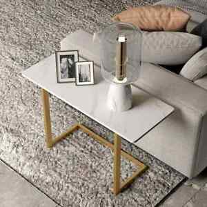 White Coffee End Table Stone Tabletop Rectangular Side Table for Living Room