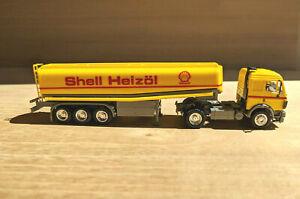 "Mercedes-Benz SK Tanksattelzug ""Shell Heizöl"", gelb, Herpa #826026 - 1:87"