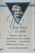 1931 Art Deco Wisconsin Telephone Co Long Distance Phone Advertising Brochure