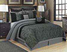 8 Piece WISTERIA Braches Jacquard Comforter Set- Gray, Queen King Cal.King Size