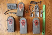 Lot of Vintage Detex Watchclock Station Box Chain Key Night Watchmans Time Stamp