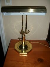 Vintage Brass Octagon Piano Bankers Adjustable 2 Bulb Desk Lamp Dynasty Classics