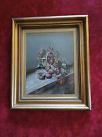 Vintage Original Oil Painting. Still Life. Traditional Gilt Gold Chunky Frame.