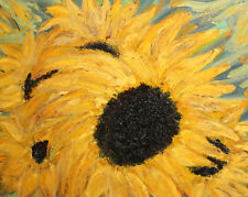 Floral sunflowers oil painting signed