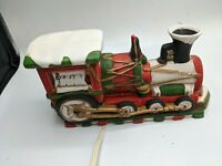 "ALBERT E PRICE BISQUE PORCELAIN LIGHT UP XMAS TRAIN 9"" Ceramic Vtg 1986 rare"