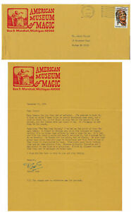 American Museum of Magic Letterhead & Env-Dec.1984-Signed by Lund-vFINE-aF