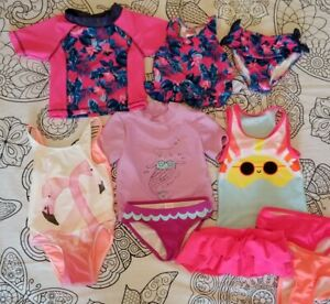 Toddler Girls 3T Swim Lot Tankini Rashguard Swimsuit Skirt Cover-up Cat & Jack +