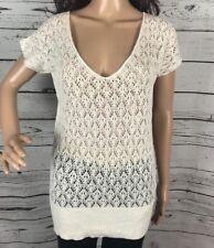 Banana Republic Open Knit Shirt XS Ivory White Delicate Crochet 100% Linen Top