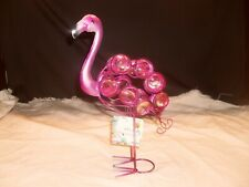 Home Decoration ~ Hand Painted ~ Wire & Tin Flamingo W/ Glass Gems