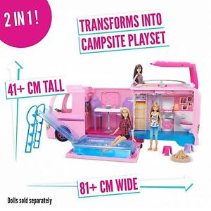 Barbie Dream Camper RV Pink Pop Out Caravan For Dolls With Accessories Play Set
