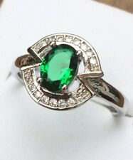 925 Sterling Silver Emerald / White Sapphire Abstract Oval Art Deco Ring Size p