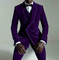 3 Piece Purple Men's Velvet Suits Shawl Lapel Party Prom Tuxedo Wedding Suits