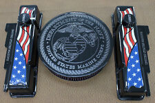 American Flag Marine Chevy SB Tall Valve Cover Set 14 Air Cleaner Breathers PCV