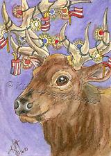 New listing patriotic Elk wapiti Deer Usa Flag aceo Ebsq Loberg wildlife mini Art Fireworks