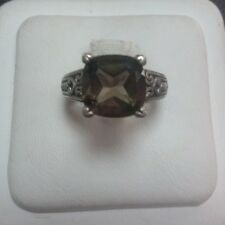 LADIES SMOKY QUARTS RING IN STERLING SILVER