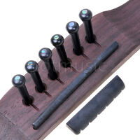 Black Acoustic Guitar Saddle Nut and 6 Pins Reinforced Plastics
