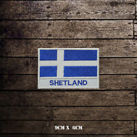 SHETLAND Flag With Name Embroidered Iron On Sew On Patch Badge For Clothes Etc