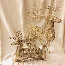 "Large Gold Twisted Wire Reindeers Christmas Deer Antlers Glitter 12"" & 20"""