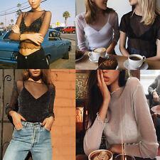 Soft Women Sheer Mesh Loose Long Sleeve SEE THROUGH Crop Tops Blouse Cool Shirts