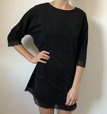 Zara Women Dress Size Medium Black Faux Suede Short Sleeve Knee Length Lace Trim