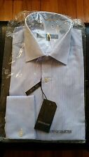 NWT Report Collection French Cuff Slim Fit Blue Striped Dress Shirt 15 34/35 NIP