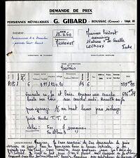 "BOUSSAC (23) CONSTRUCTION de FERMETURES METALLIQUES ""G. GIBARD"" en 1960"