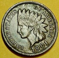 1901 Indian Head Cent / U.S. Coin EF  Full LIBERTY, Diamonds
