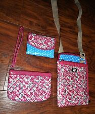 ROLFS 3 PIECE SHOULDER BAG PURSE, ID WALLET & WRISTLET FLORAL/POLKA DOT