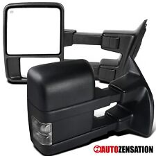 For 1999-2015 Ford F250 Super Duty Black Power Heated Tow Mirrors+Smoke Signal