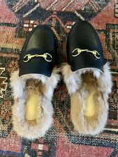 Black Princetown Mules with Fur Size 41