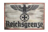 Wehrmacht Holzschild Reichsgrenze vintage road sign Holz Schild 60cm x 40cm
