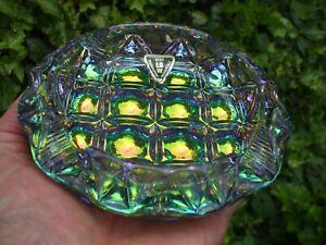 Carnival Glass.Unusual LGW Checkmate Cigar Ashtray.Original Paper Label.