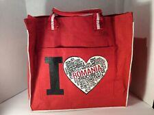 """I Love Romania"" Red Burlap Shopping Tote Bag XXL"