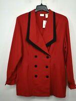 Vintage NOS Apart Women Lightweight Blazer Double Breasted Red Career Jacket 16