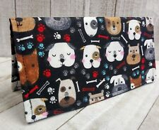 Bifold WALLET Debit Card holder 2 Pockets Cover Coupon DOGS Fabric Handmade