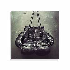 Leinwand Bild Bilder Retro Boxen Sport Boxhandschuhe schwarz Wand Nagel XXL