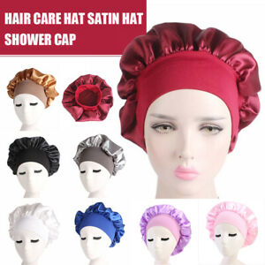 Long Hair Care Satin Bonnet Cap Sleep Hat Silk Head Wrap Adjust Shower Wear Cap