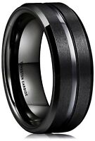 8MM Classic Black Matte Tungsten Ring for Men | Women Wedding Engagement Band