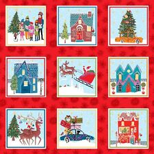 Christmas Wonderland Etiquetas Panel Colchas de retazos de tela 55 paneles individuales makower