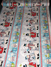 Christmas Snowman Cocoa Cotton Fabric Stripe  Wilmington All Bundled Up -1.39 Yd