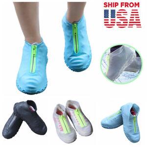 Waterproof Zipper Shoe Covers Silicone Case Rain Boot Reusable Portable Non-slip