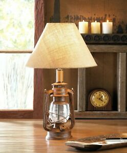 Rustic Iron Glass Vintage Camping Candle Lantern Table Lamp Home Décor