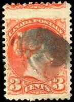 Canada #41 used 1888 Queen Victoria 3c vermilion Small Queen DRAMATIC MISPERF